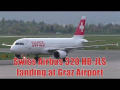 Swiss Airbus 320 landing and taxiing at Graz Airport | HB-JLS
