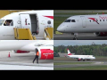 *WAVING PILOT* AUA Embraer 195 landing, taxiing and outside check at Graz Airpor