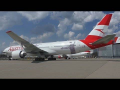 BRAND NEW AUSTRIAN AIRLINES LIVERY | close up of Boeing 777 OE-LPF