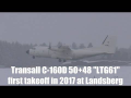 Transall C-160D first takeoff in winter 2017 at Landsberg Airbase