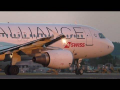 Swiss Airbus 320 *Star Alliance livery* close-up sunset takeoff at Graz Airport
