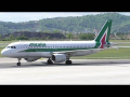Alitalia Airbus 320 landing and taxiing at Graz Airport | EI-DSC