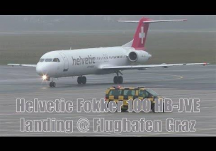 Helvetic Airways Fokker 100 HB-JVE landing at Graz Airport
