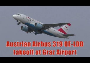 Austrian Airlines Airbus 319 takeoff at Graz Airport | OE-LDD