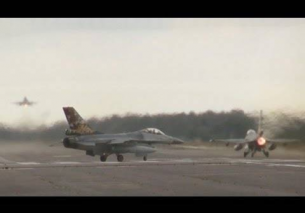 Farewell 8x F-16 Afterburner takeoff wave Kleine Brogel Airbase 2013
