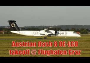 Austrian Airlines Dash 8 *Star Alliance livery* takeoff @ Flughafen Graz | OE-LG