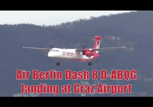 Air Berlin Dash 8 landing at Graz Airport | D-ABQG
