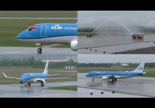 INAUGURAL FLIGHT KLM Embraer 175 landing at Graz Airport   water salute | PH-EXK
