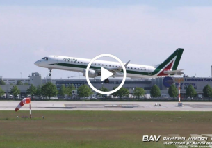 Embraer E190 – Alitalia CityLiner EI-RNE – landing at Munich Airport