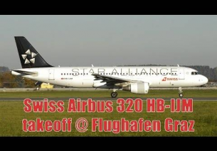 Swiss A320 *Star Alliance livery* takeoff @ Flughafen Graz | HB-IJM