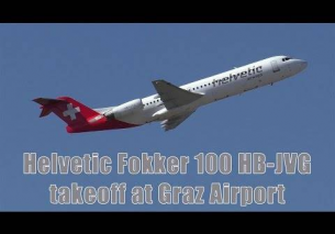 Helvetic Airways Fokker 100 takeoff at Graz Airport | HB-JVG