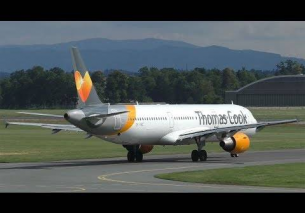 Thomas Cook Airlines Scandinavia Airbus 321 takeoff at Graz Airport | OY-VKC