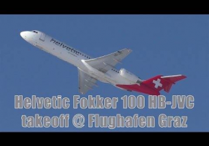 Helvetic Airways Fokker 100 takeoff @ Flughafen Graz | HB-JVC