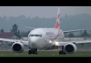 SmartWings Boeing 737 close-up takeoff at Graz Airport | OM-TSG
