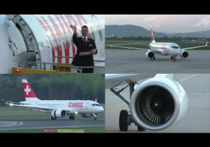 Swiss CS100 landing, taxiing and close-up at Graz Airport | HB-JBC