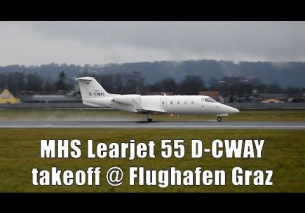 MHS Aviation Learjet 55 takeoff @ Flughafen Graz | D-CWAY