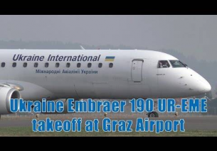 Ukraine International Airlines Embraer 190 takeoff at Graz Airport | UR-EME