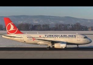 Turkish Airlines Airbus 319 landing at Graz Airport | TC-JLU