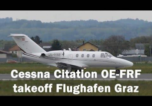 Cessna Citation takeoff Flughafen Graz | OE-FRF