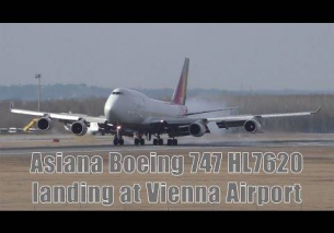 Asiana Airlines Boeing 747 landing at Vienna Airport | HL7620