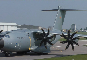 German Air Force Airbus A400M Action at Cambridge Airport