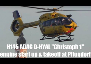 Airbus Helicopters H145 ADAC D-HYAJ Christoph1 engine start up and takeoff