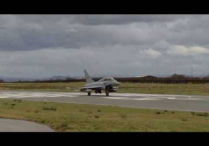 BAE Eurofighter Typhoon takeoff from Warton Aerodrome 18/2/2014