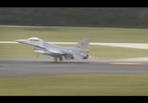 Low approach flyby 2x F16 Eindhoven Airport 2013