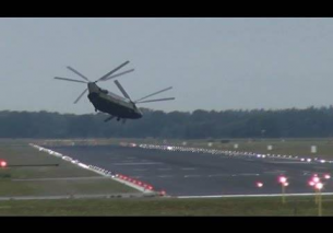 Low pass take off RNLAF Chinook CH-47 Eindhoven Airport 2013