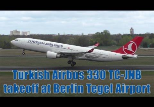 Turkish Airlines Airbus 330 takeoff at Berlin Tegel Airport | TC-JNB