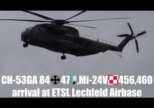 Sikorsky CH-53GA and Mil Mi-24V Hind E approaching at Lechfeld Airbase