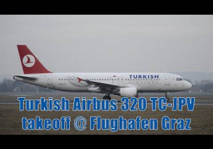 Turkish Airlines A320 takeoff @ Flughafen Graz | TC-JPV