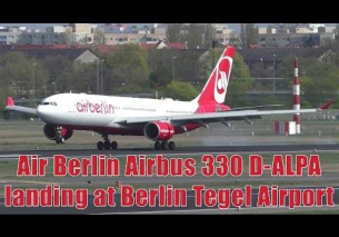 Air Berlin Airbus 330 landing and taxiing at Berlin Tegel Airport | D-ALPA